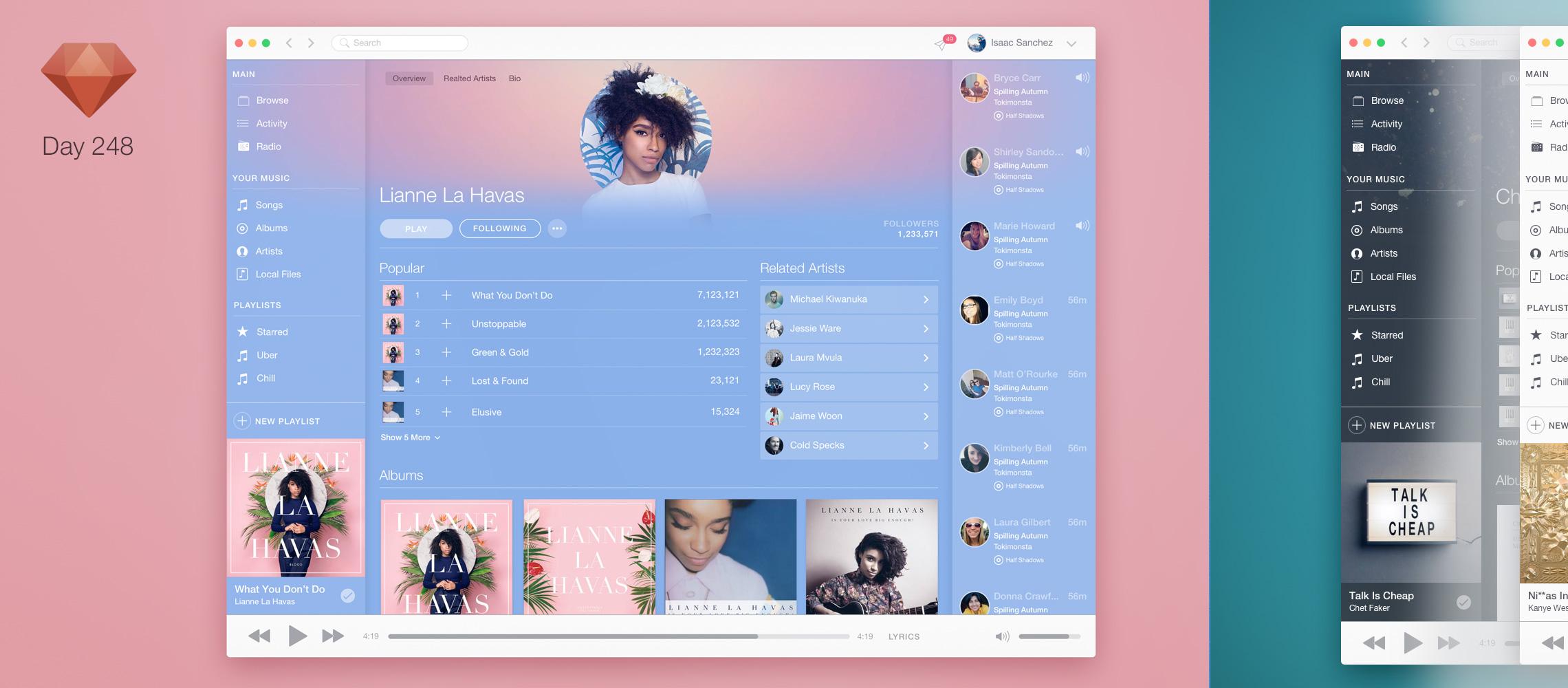 Spotify and Apple Music (Mac OS X UI/UX)   Sketchapp TV