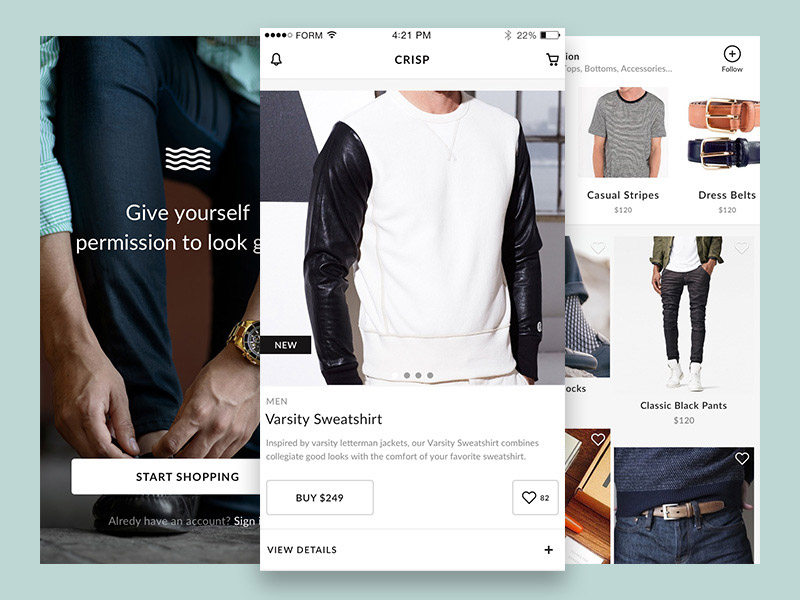 Crisp Free Ecommerce UI Kit for Sketch