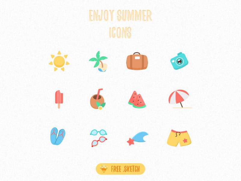 Free sketch icons - Enjoy Summer