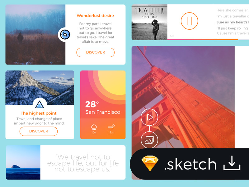 Sketch Freebie: Flat Travel Blog UI Kit