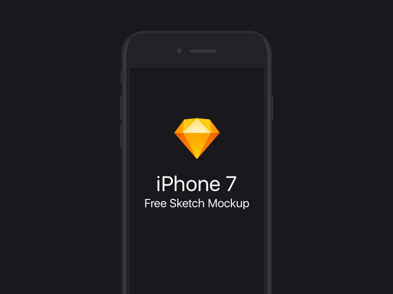 Free Flat iPhone 7 Sketch Mockup