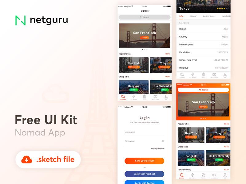 Nomad App Free UI Kit