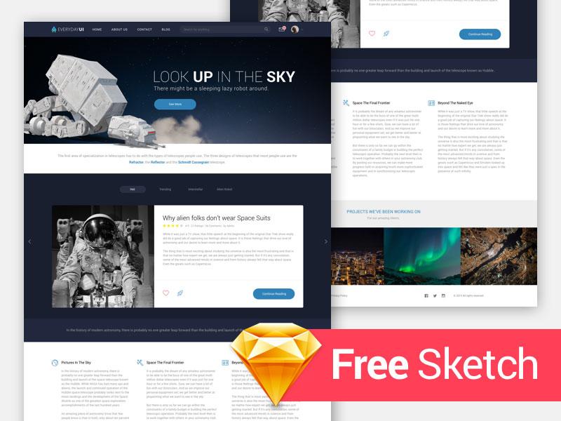 Interstellar Home Page UI Theme (free .Sketch)