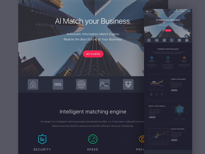 Merger-free dark colored landing page sketch template