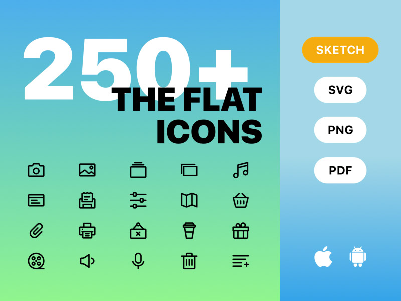 250+ Flat Icons (iOS, Android, Web)