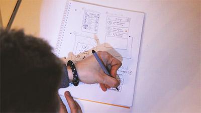 Sketching a messaging app user interface.